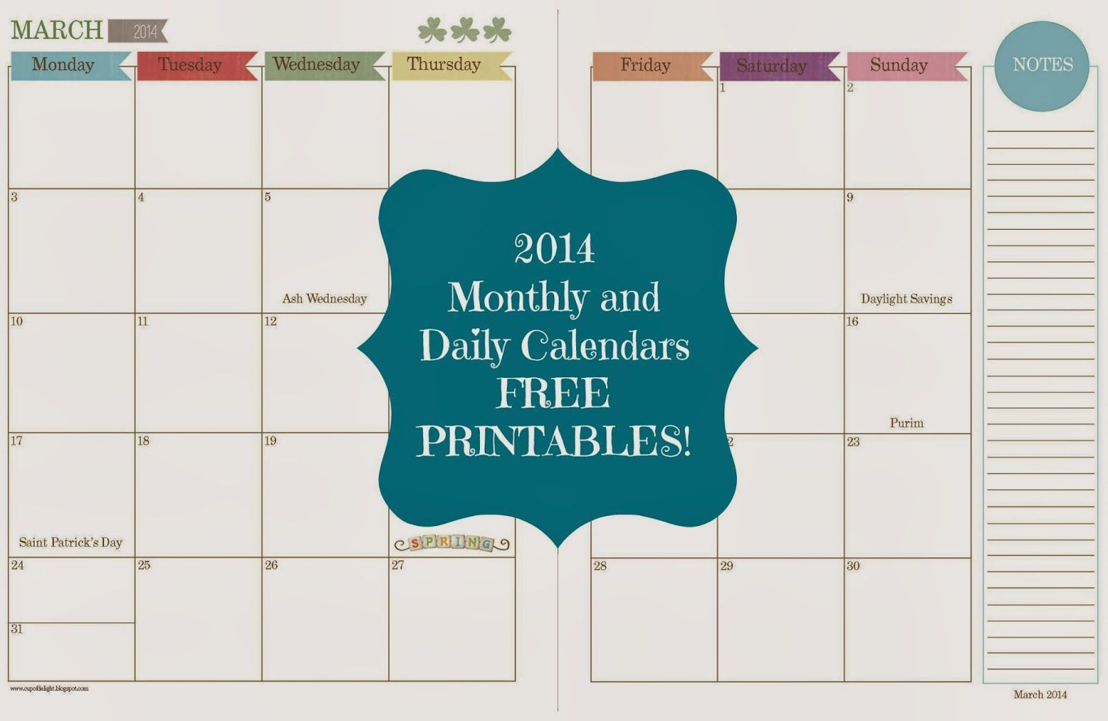 Free Printable  Montly And Daily Calendars WwwCupofdelight
