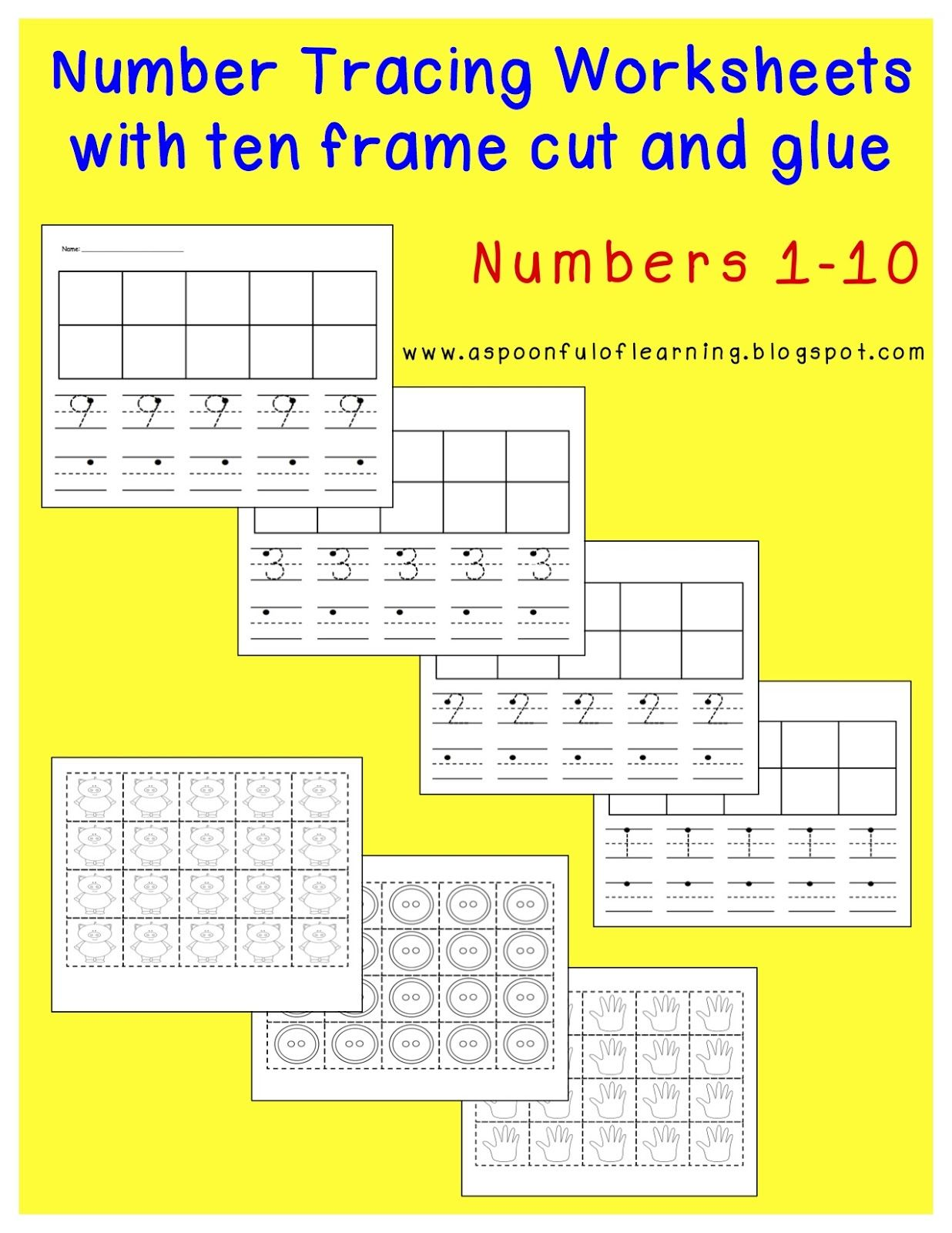 All About Numbers 1 10 Tracing Pages With Ten Frame Cut