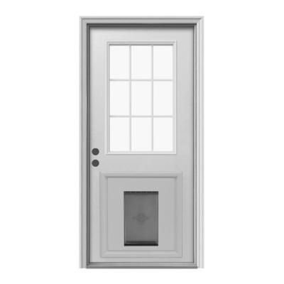 JELD-WEN 9 Lite Primed White Steel Entry Door with Medium Pet Door ...