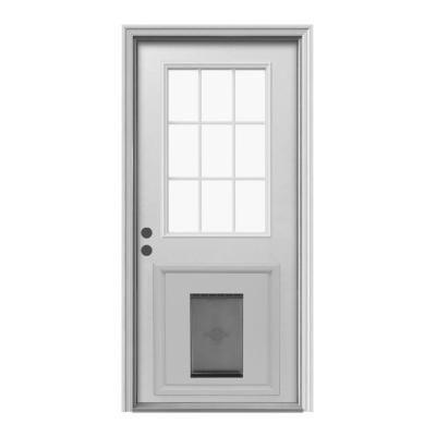 Jeld Wen 9 Lite Primed White Steel Entry Door With Medium Pet Door