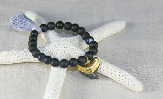 Black Matte Bead Bracelet with Gold Dipped by SunkissedCollector