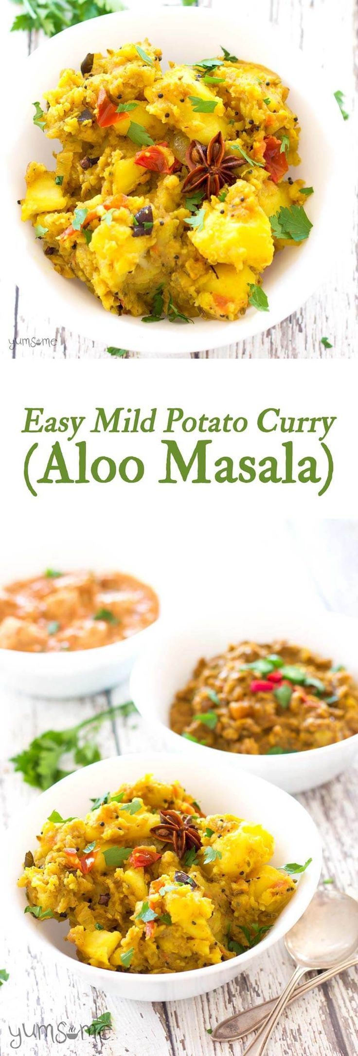Aloo masala is a deliciously comforting, mildly-spiced mixture of fried mashed potatoes, onion, and tomato. It's a fantastic meal at any time of the day but it's especially great for breakfast.   http://yumsome.com