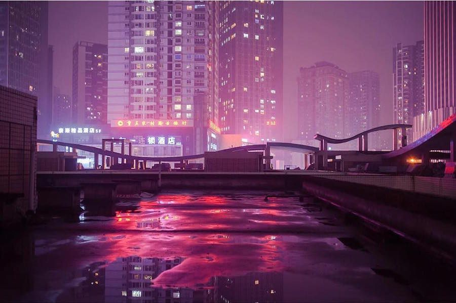 Nighttime Photos Of Hong Kong And Chinas NeonSoaked Back Alleys - City streets glow in eerie night time photographs by andreas levers