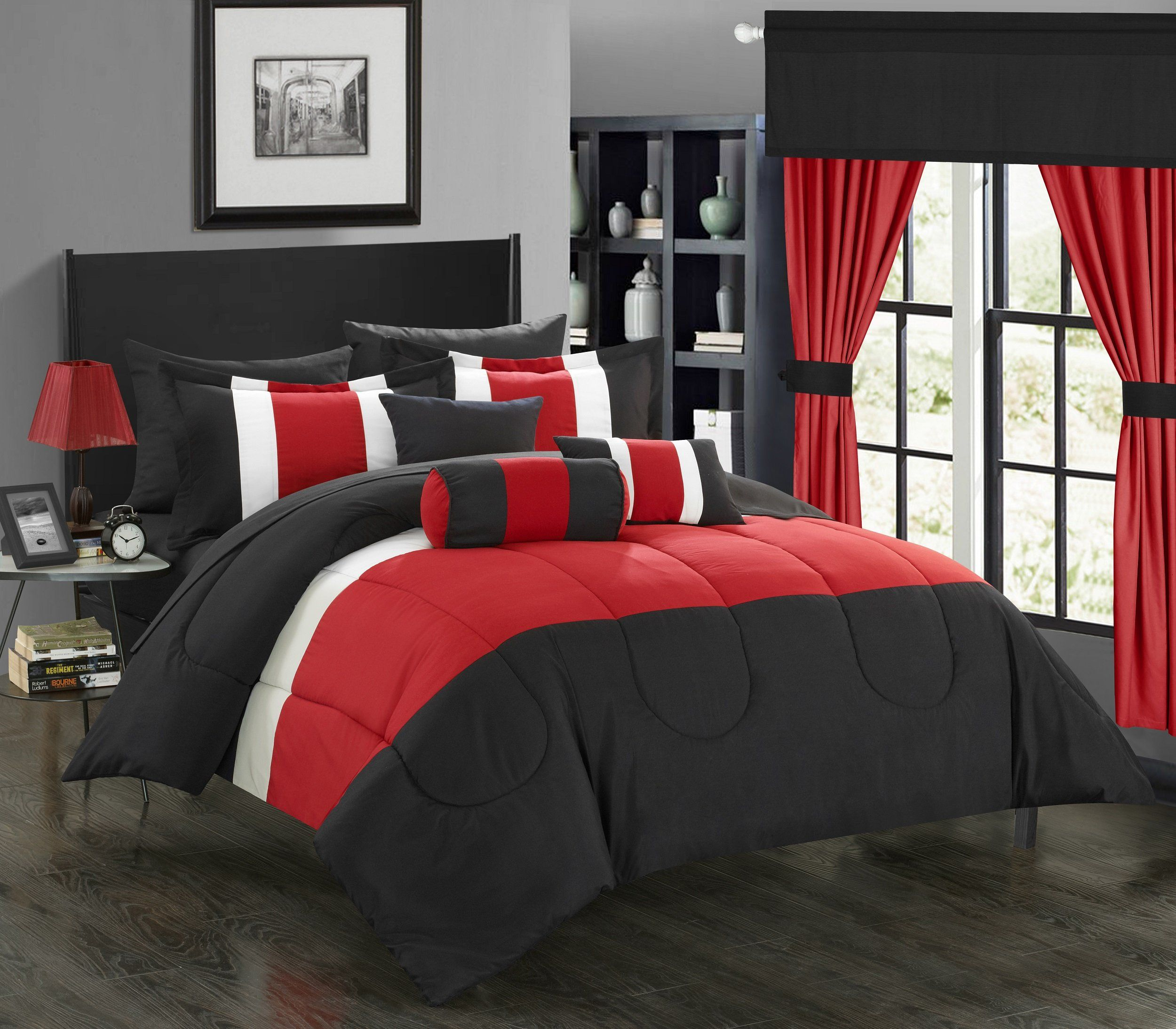 red sets boulder set queen bedrooms pin comforter duvet and pc bed stripe