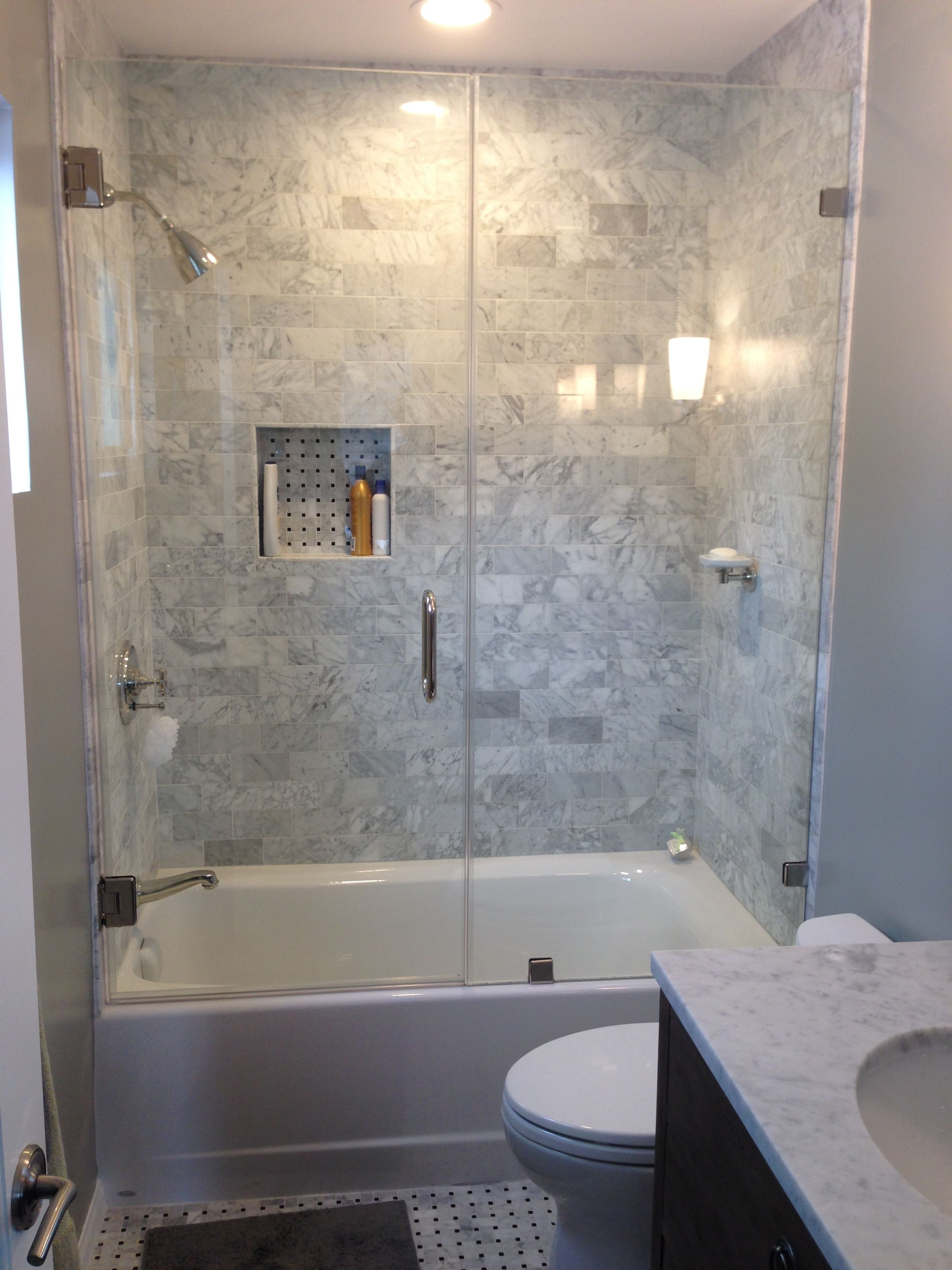 Bathroom Bathroom White Corner Tub Shower Combo With Glass Door Near White Toilet B Small Bathroom With Shower Bathroom Design Small Bathroom Remodel Designs