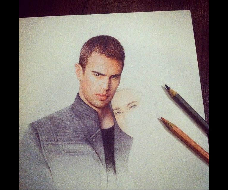Four and Tris pencil drawing in progress - By artistiq #divergent