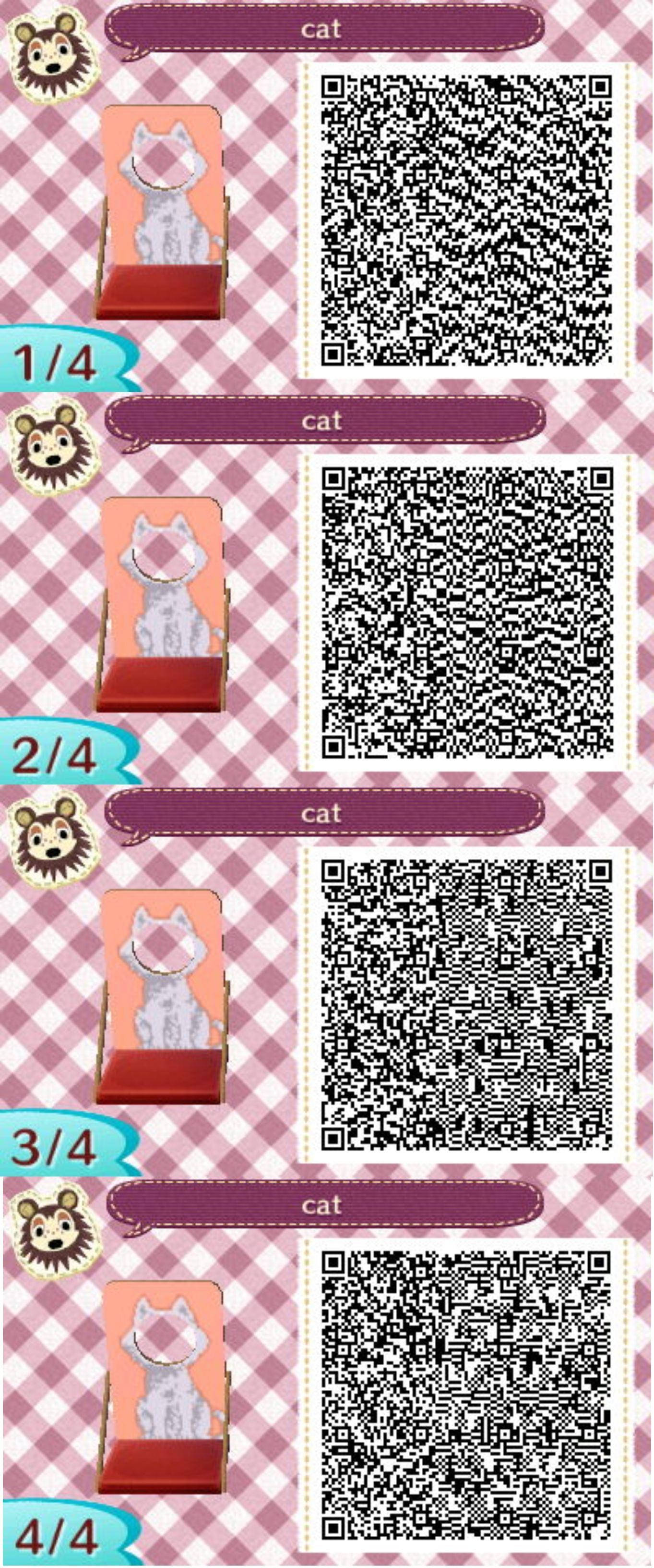 Cat Standee For Acnl Towns Scan Qr Code And Upload Onto The Pwp A
