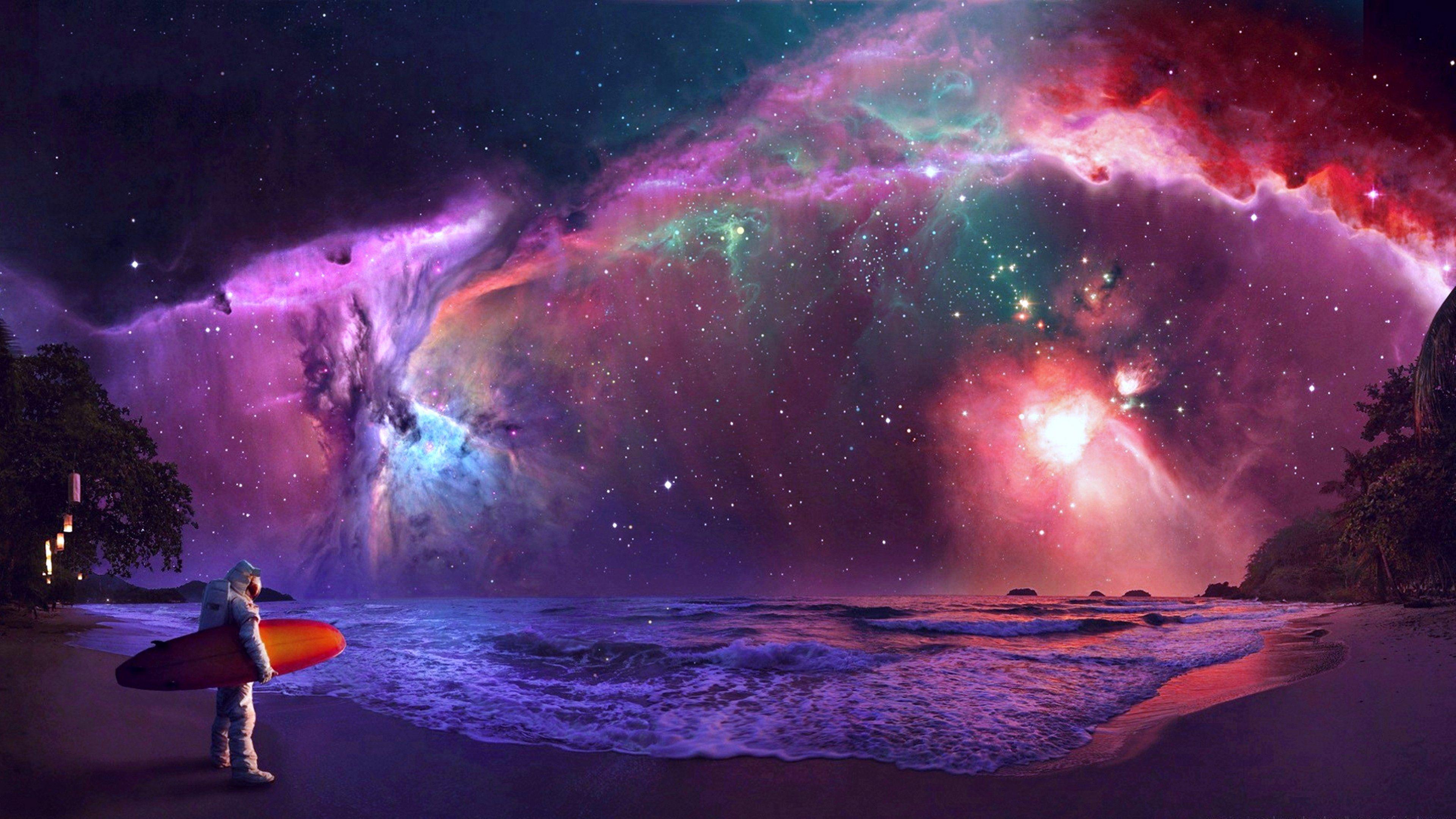 nebula galaxy stars fantasy magical space suns planets wallpaper