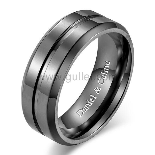 Custom Engraved Mens Wedding Ring 8mm Titanium Wedding