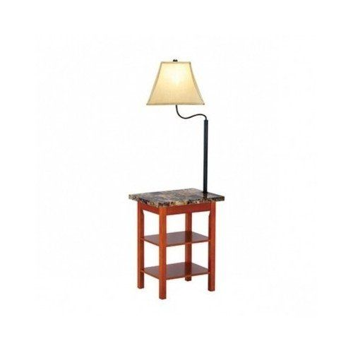 End Table with Built-in Floor Lamp & Magazine Holder Rack Cherry Wood  Finish 58.5 - End Table With Built-in Floor Lamp & Magazine Holder Rack Cherry