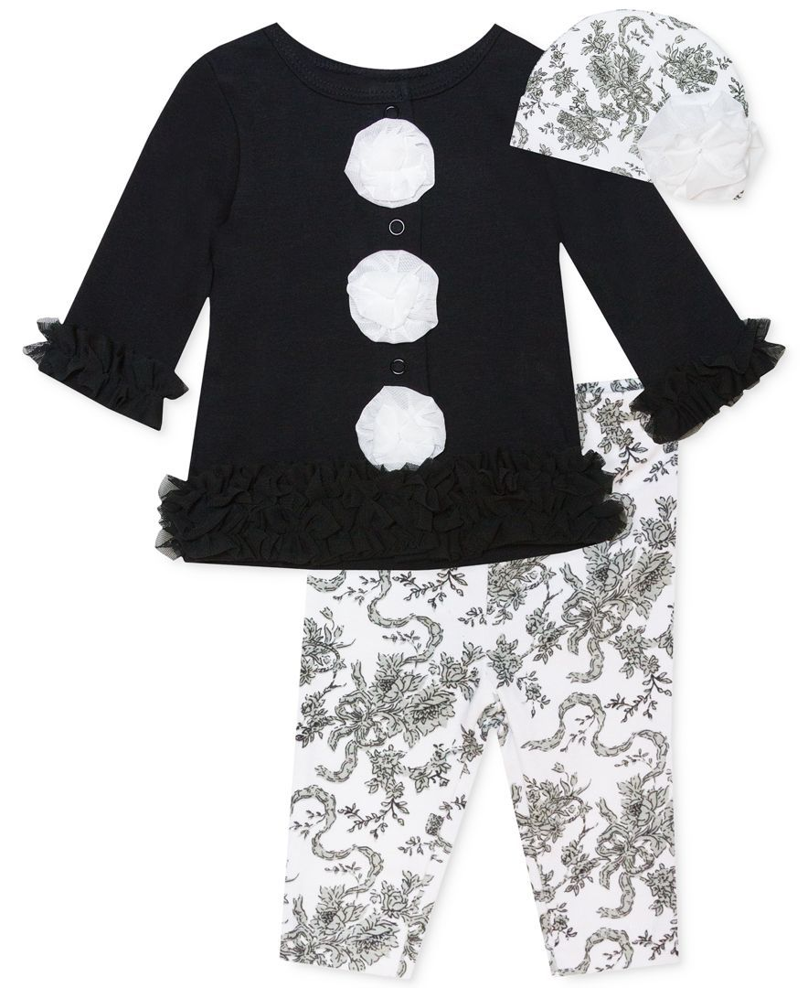 Baby Essentials Baby Girls' 3-Piece Hat, Cardigan & Leggings Set