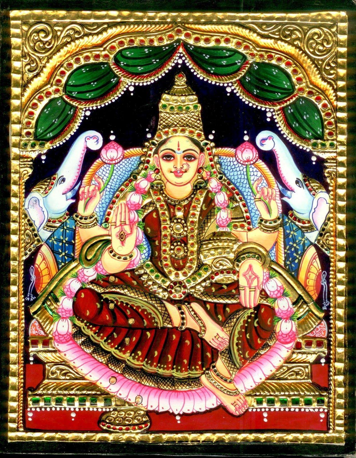 GAJA+LAKSHMI.jpg (1245×1600) Indian paintings, Tanjore