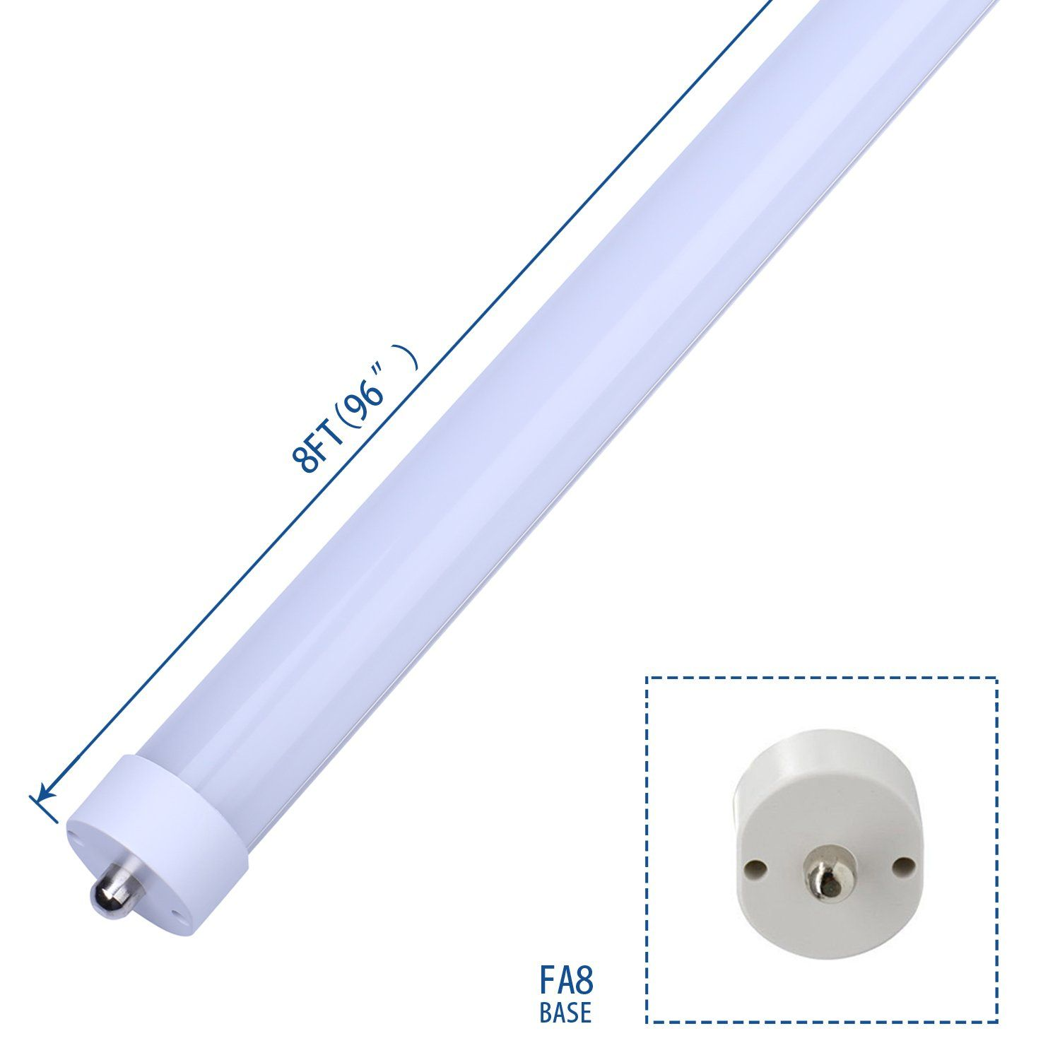 Led Lights Tube Lamp T8 T10 T12 45w 100w Equivalent Dualended Power Cold White 6000k Frosted Cover Led Fluorescent Fluorescent Tube Light Led Fluorescent Tube