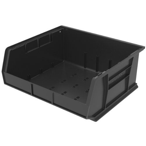 Akromils 30250 Plastic Storage Stacking Hanging Akro Bin 15inch By 16inch By 7inch Black Case Of 6 You C Storage Stackable Plastic Storage Bins Tote Storage
