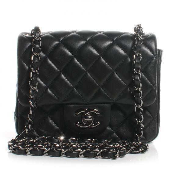 5019390443ce CHANEL Lambskin Quilted Mini Square Flap in Black.