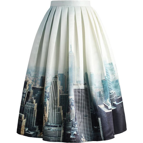 Chicwish New York Skyline Printed Midi Skirt (£39) ❤ liked on Polyvore featuring skirts, bottoms, saias, faldas, white, mid calf skirts, midi flare skirt, white knee length skirt, flared skirts and white flared skirt