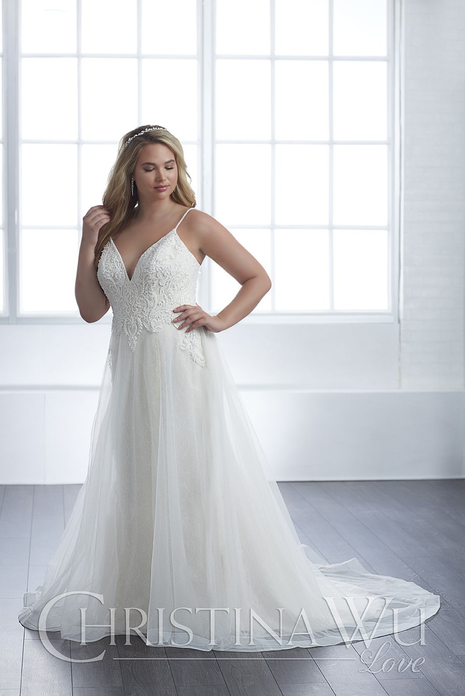 This Christina Wu Love 29305 A Line Plus Size Wedding Dress Hangs