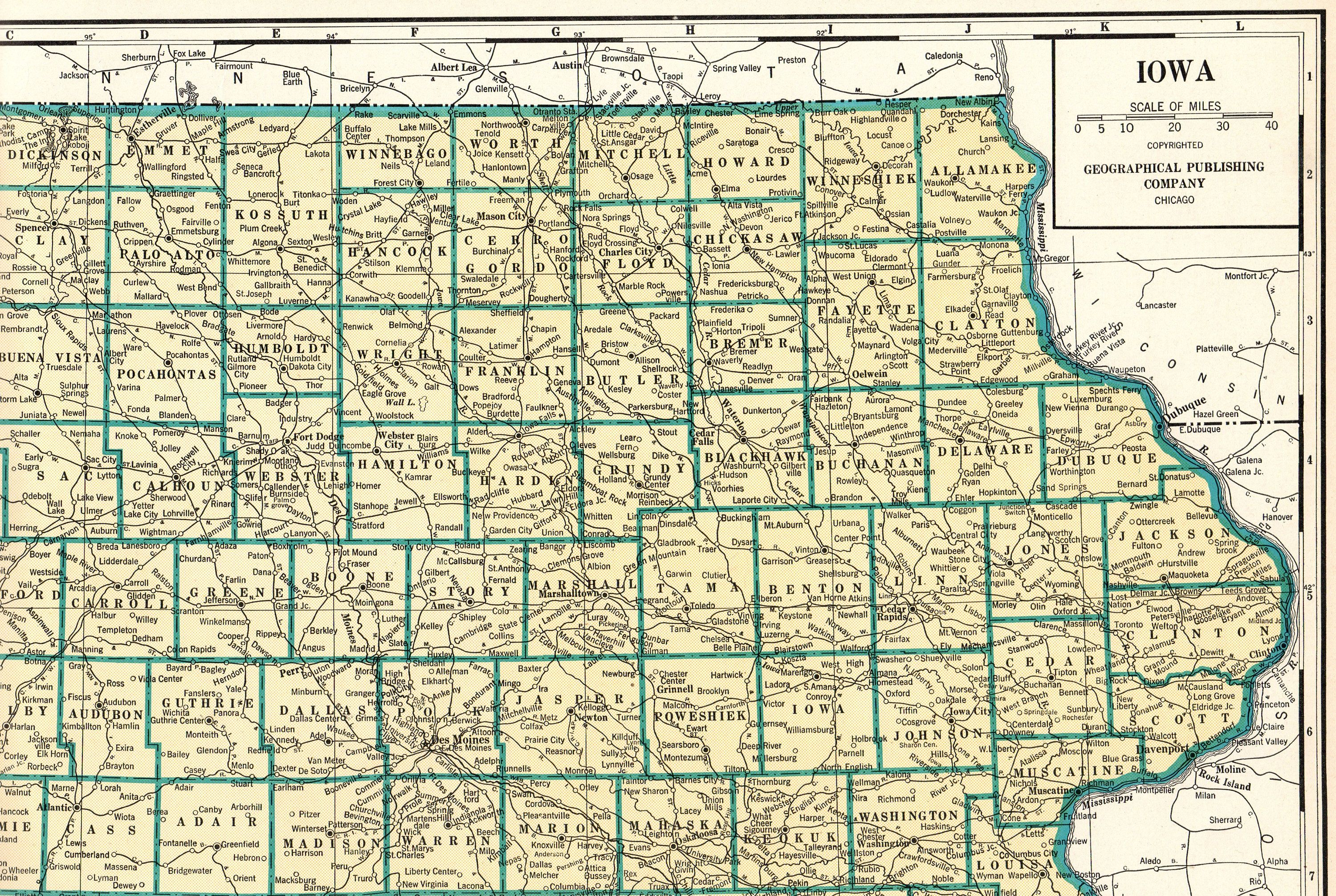 1931 Antique Iowa State Map Large Map Of Iowa Poster Print Size