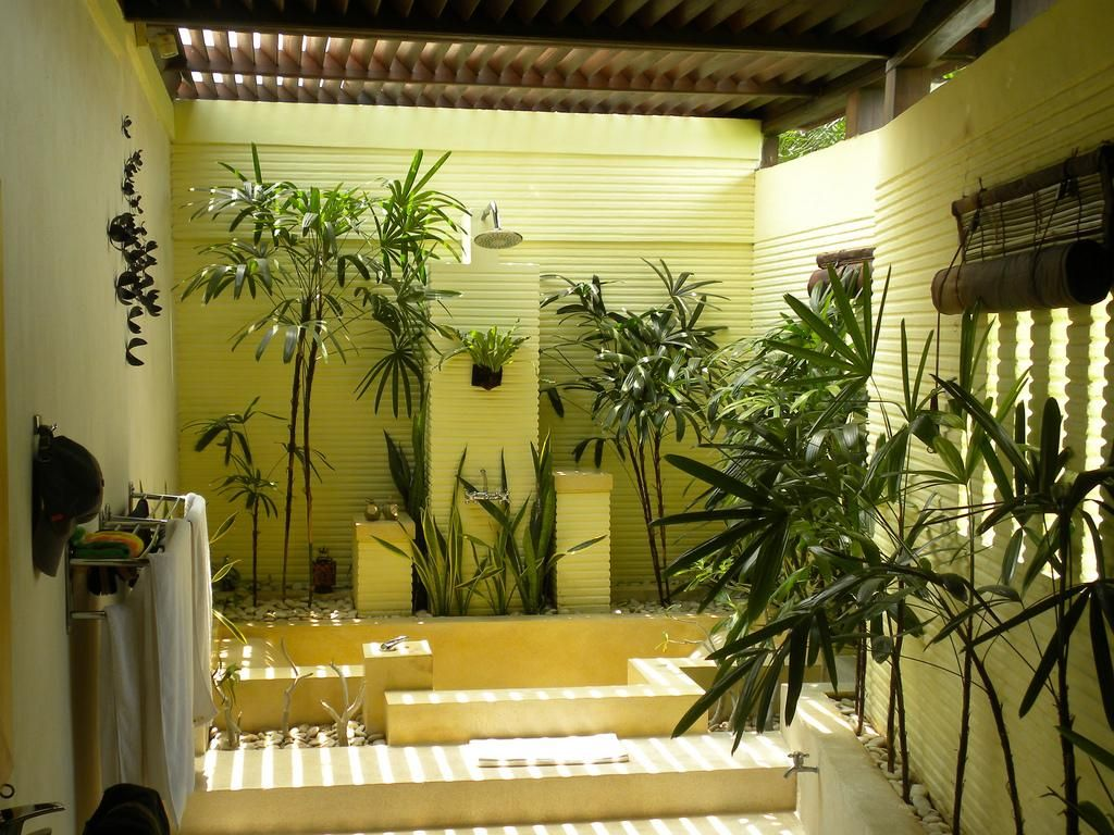 Open Shower Design With Small Indoor Garden Plants Healthy Home And Eco Friendly In Balinese