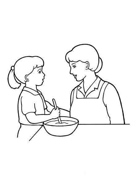 A line drawing of a woman and a little girl working in the ...