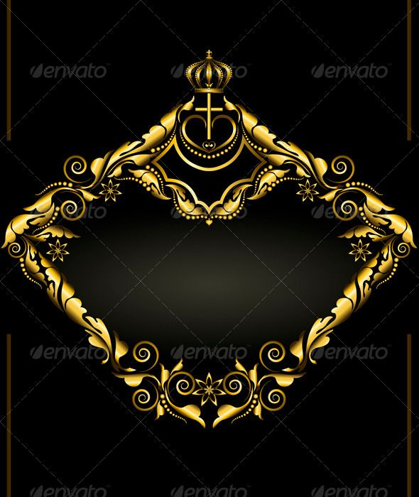 antique gold frame with crown on black background