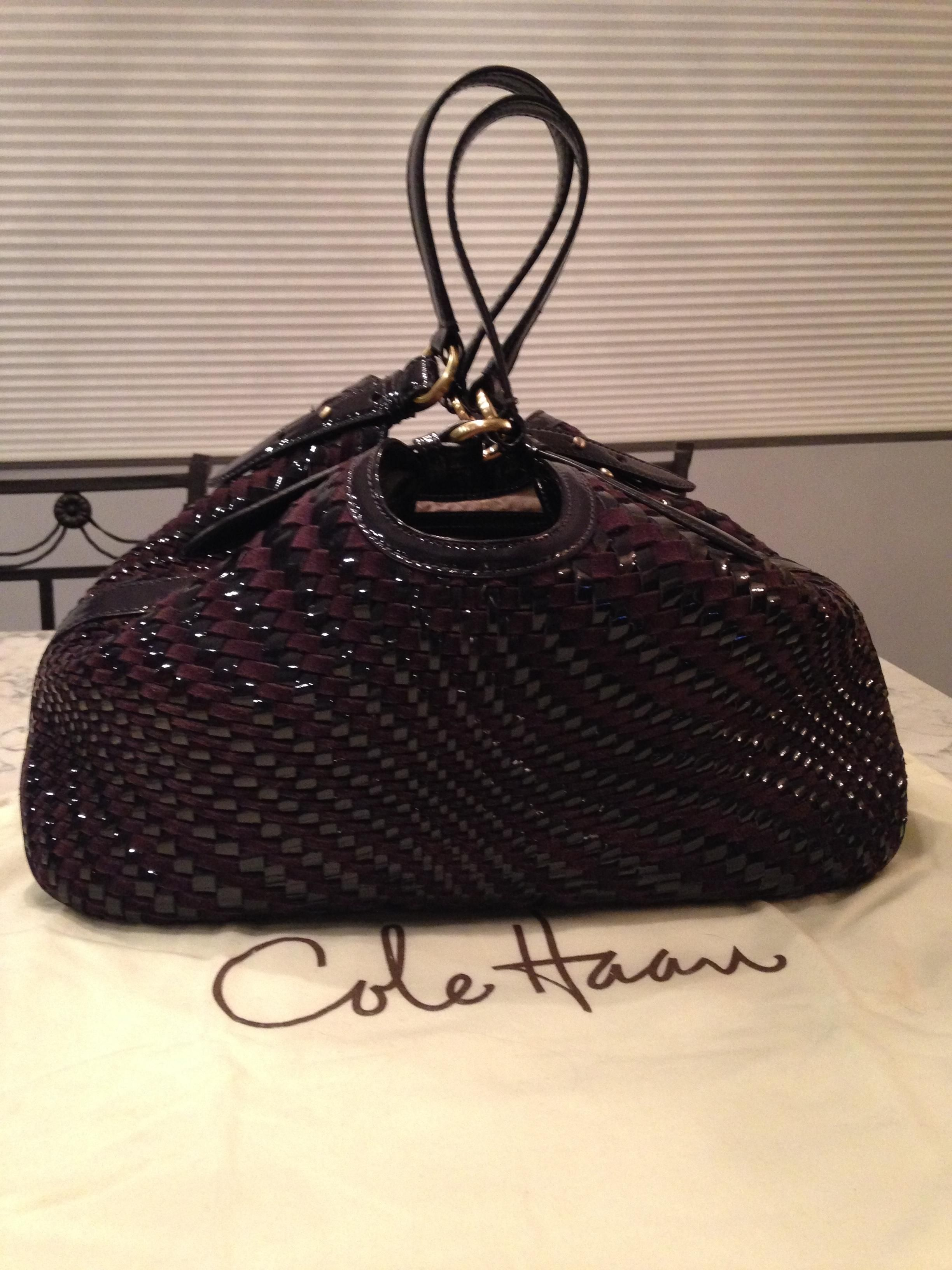 239db76b17 Cole Haan Genevieve Like New! Woven Leather Suede Weave Hobo Satchel  Handbag Purple Brown Plum Tote Bag. Get one of the hottest styles of the  season!