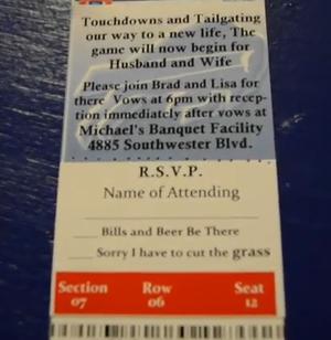 Bills Tickets Wedding Invitation