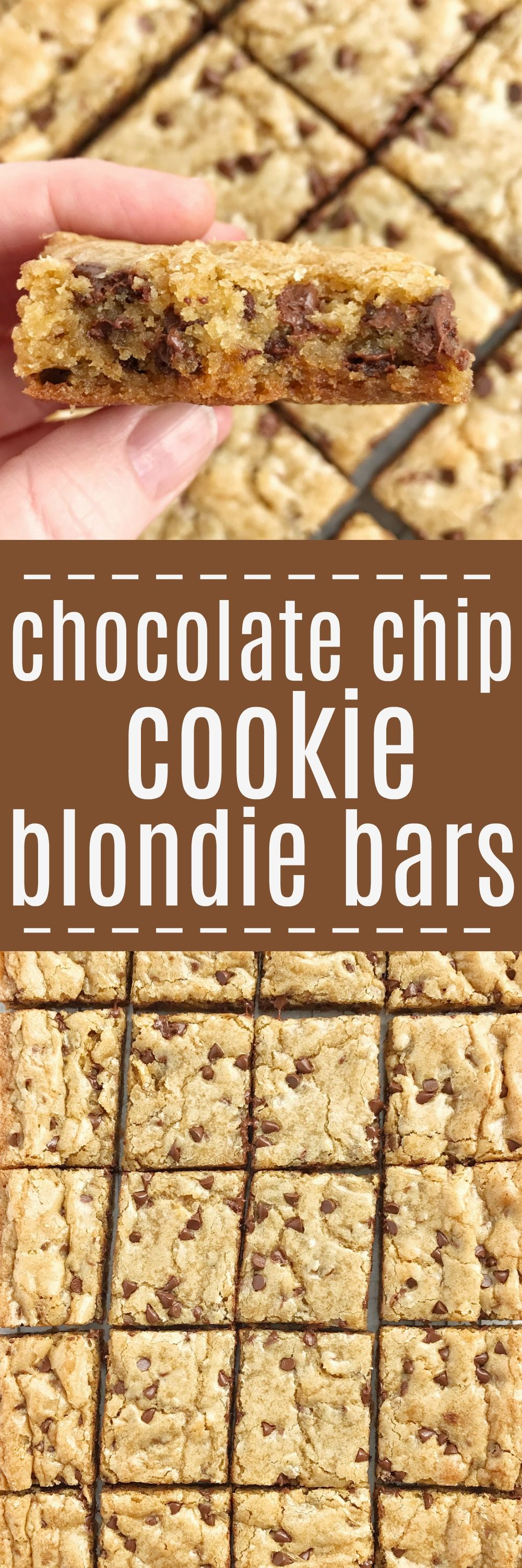 Chocolate chip cookie blondie bars are a chewy cookie bar loaded with chocolate chips and the best dessert! These bars bake in one pan and are so simple to make. They bake up perfectly sweet #chocolatechipcookies