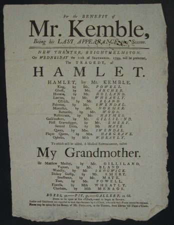 Playbill For The Benefit Of Mr Kemble At The New Theatre Brighthelmston The Old Name For Brighton On 11 September 1799 H Playbill Georgian London Leaflet