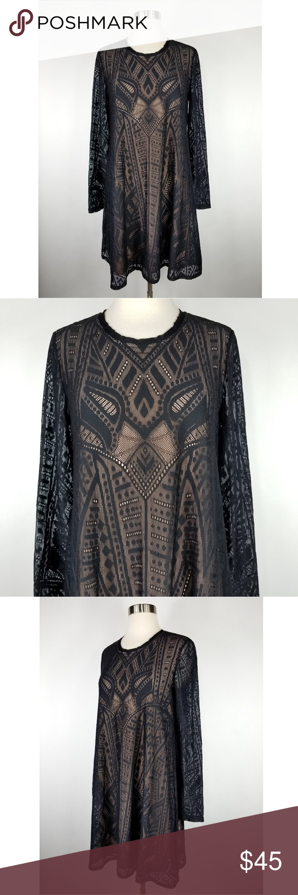 982735b5b0 BCBG Natyly Long Sleeve Black Lace Dress BCBG Max Azria  Natyly  long  sleeve lace