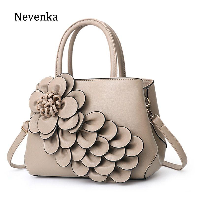6f973a28a10 Nevenka Floral Handbags Women Leather Handbag Black Shoulder Bag ...