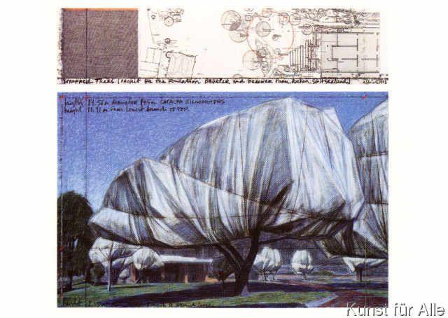 Christo und Jeanne-Claude Wrapped Trees Nr 11 Riehen Poster Kunstdruck Bild