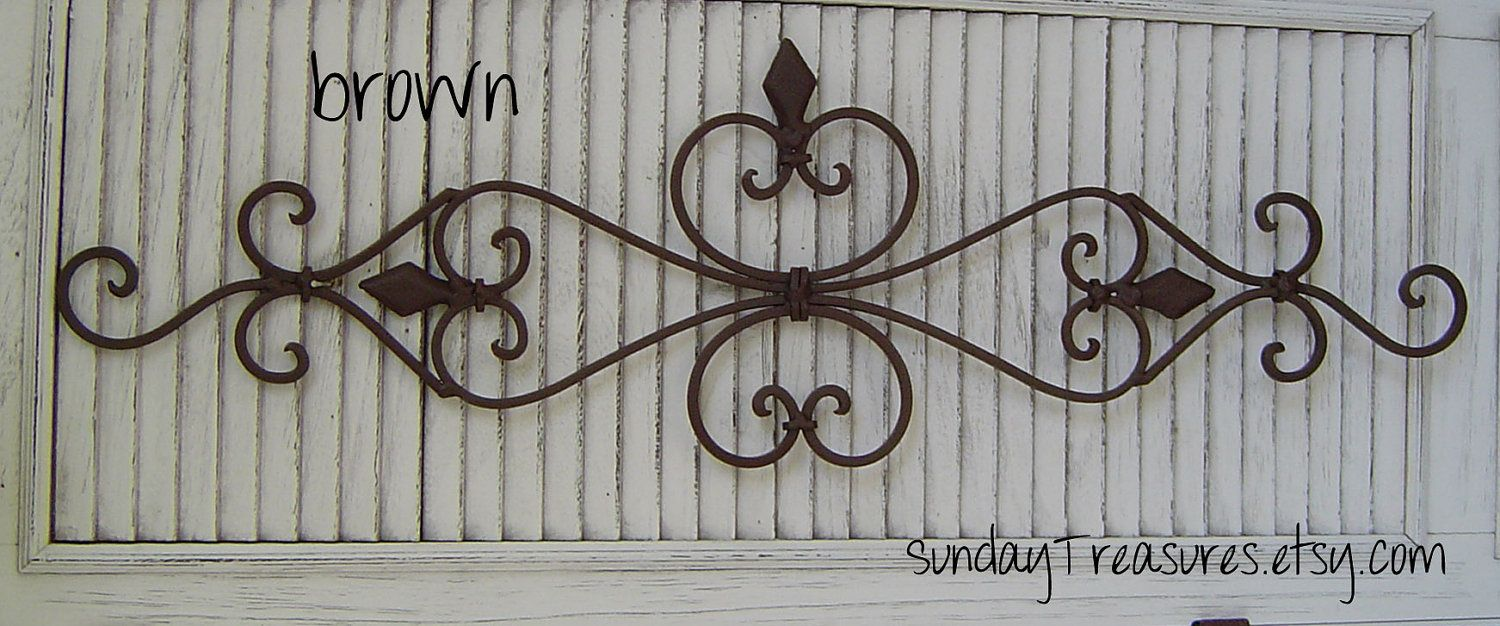 Large Brown Architectural Wall Scroll Sculpture Iron Metal Wall