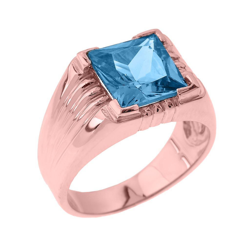 Solid Rose Gold Aquamarine Gemstone Men\'s Ring | Aquamarine gemstone ...