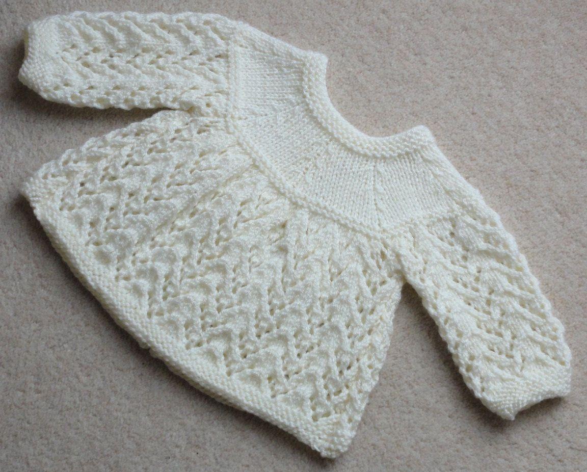 1cd486d159f7 Hand Knitted Cream Matinee Jacket 0-3 by NeedlesandPinsOnline ...