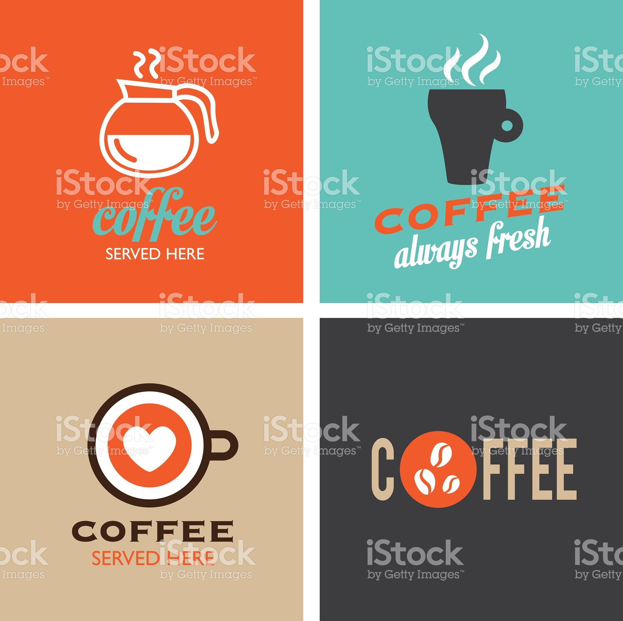 Kaffee Poster Retro Coffee Icons Labels Vintage Coffee Poster Cafe