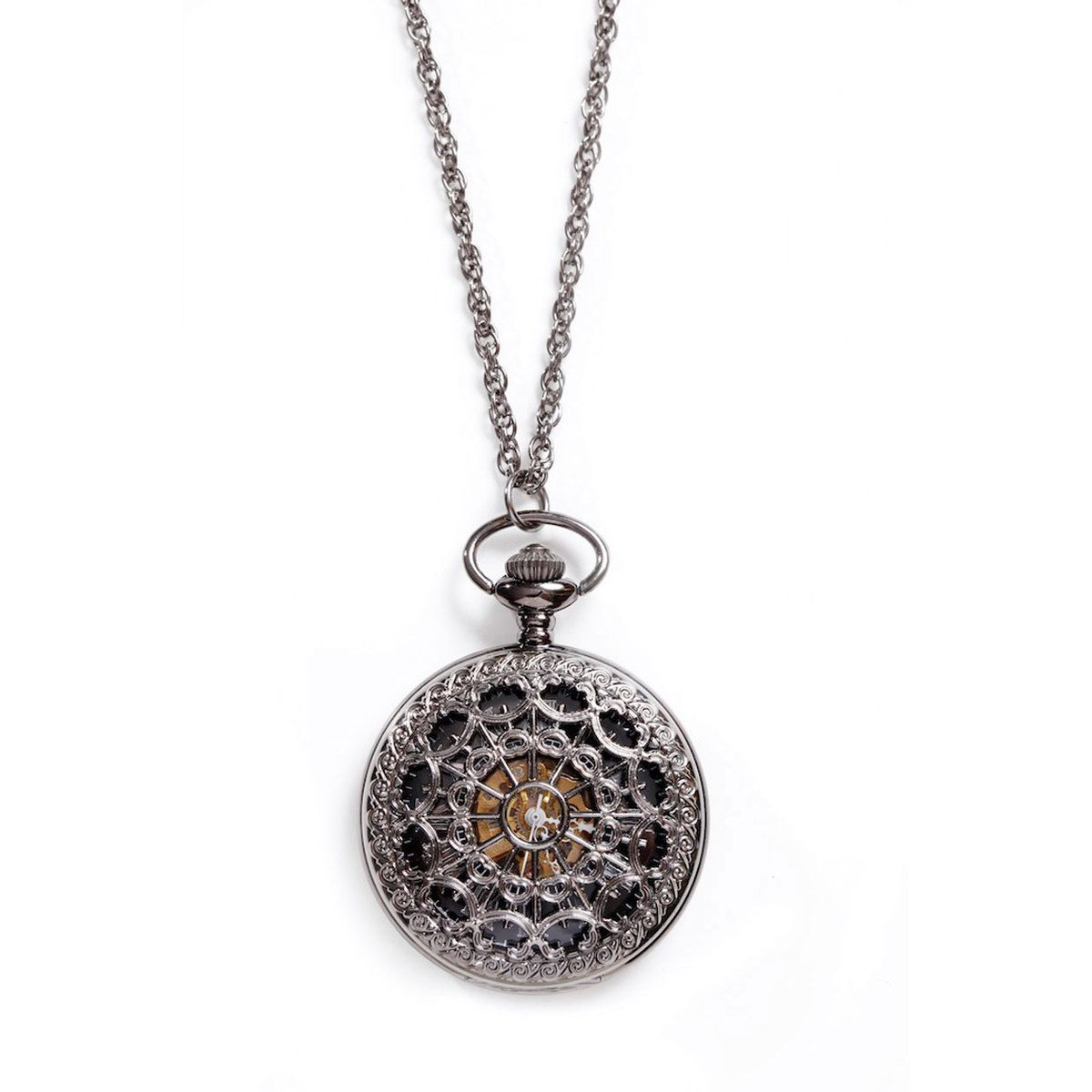 Pocket Watch Necklace Black  by LOVE NAIL TREE