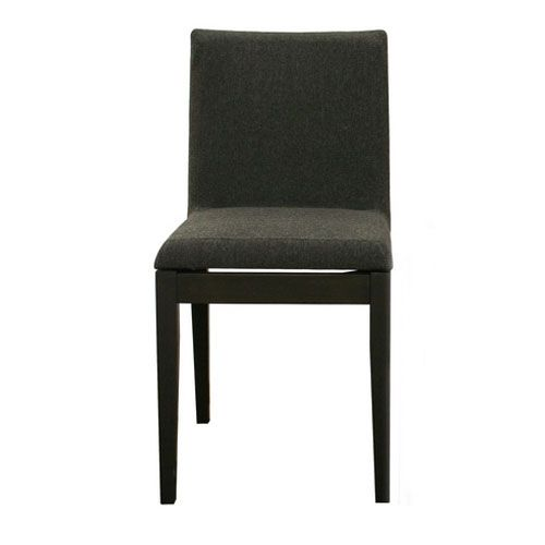Square Dining Chair in Black Rubberwood and Dark Grey/Black Twill Fabric - To go with farm table