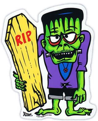 Www brokencherry com sticker frankenstein surf surfer rip monster