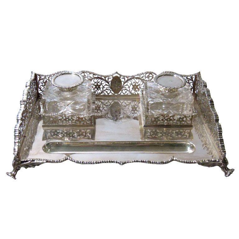 Edwardian English Sterling Silver Desk Set 1908 9 Silver Desk Antique Inkwells Edwardian