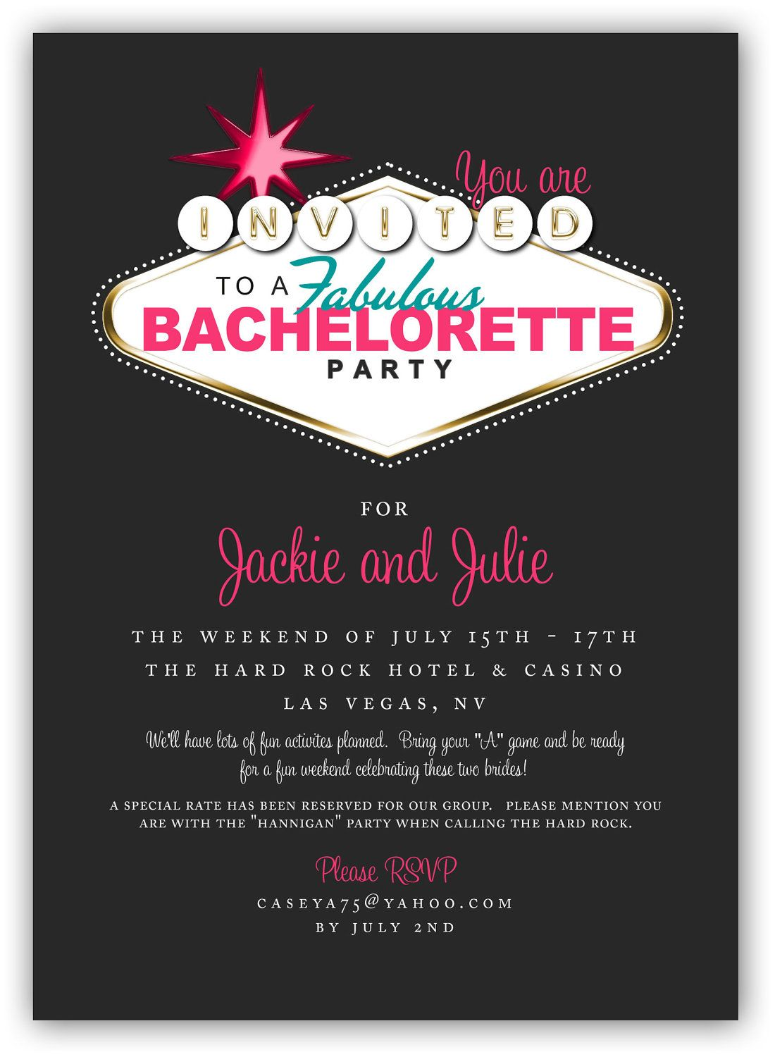 Fabulous Las Vegas Themed Party Invitation (4x6 or 5x7) Digital ...