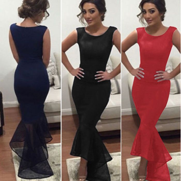 2016 Woman Formal Cocktail Party Evening Bodycon Long Maxi Prom Ball Gown Dress