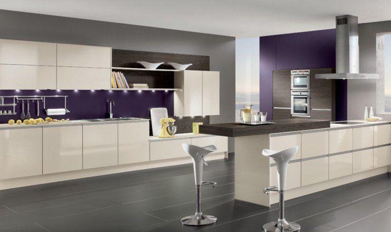Cuisine couleur aubergine  inspirations violettes en 71 idées Cuisine - carrelage mur cuisine moderne
