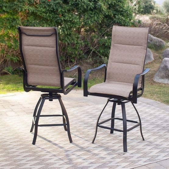 Coral Coast Wimberley Padded Sling Swivel Balcony Bar Stool - Set of 2 #balconybar