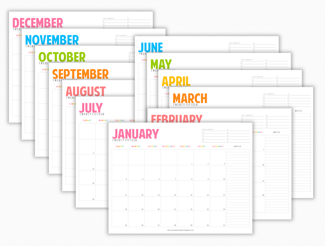 My Strawberry Baby: Free Printable 2015 Monthly Planner {blogged}