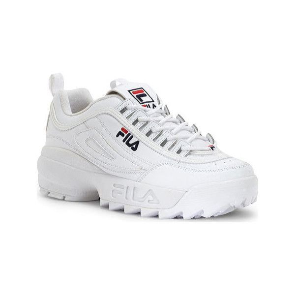 on sale ed3b0 266ef Men s Fila Disruptor II - White Peacoat VRed Casual ( 55) ❤ liked on  Polyvore featuring men s fashion, casual and sneakers