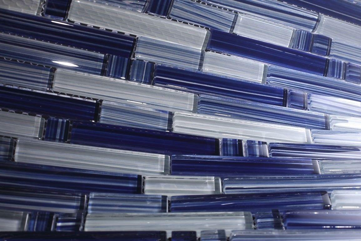 - Zen Boat Blue Blend 12x12 Mesh-Mounted Glass Mosaic Tiles Glass