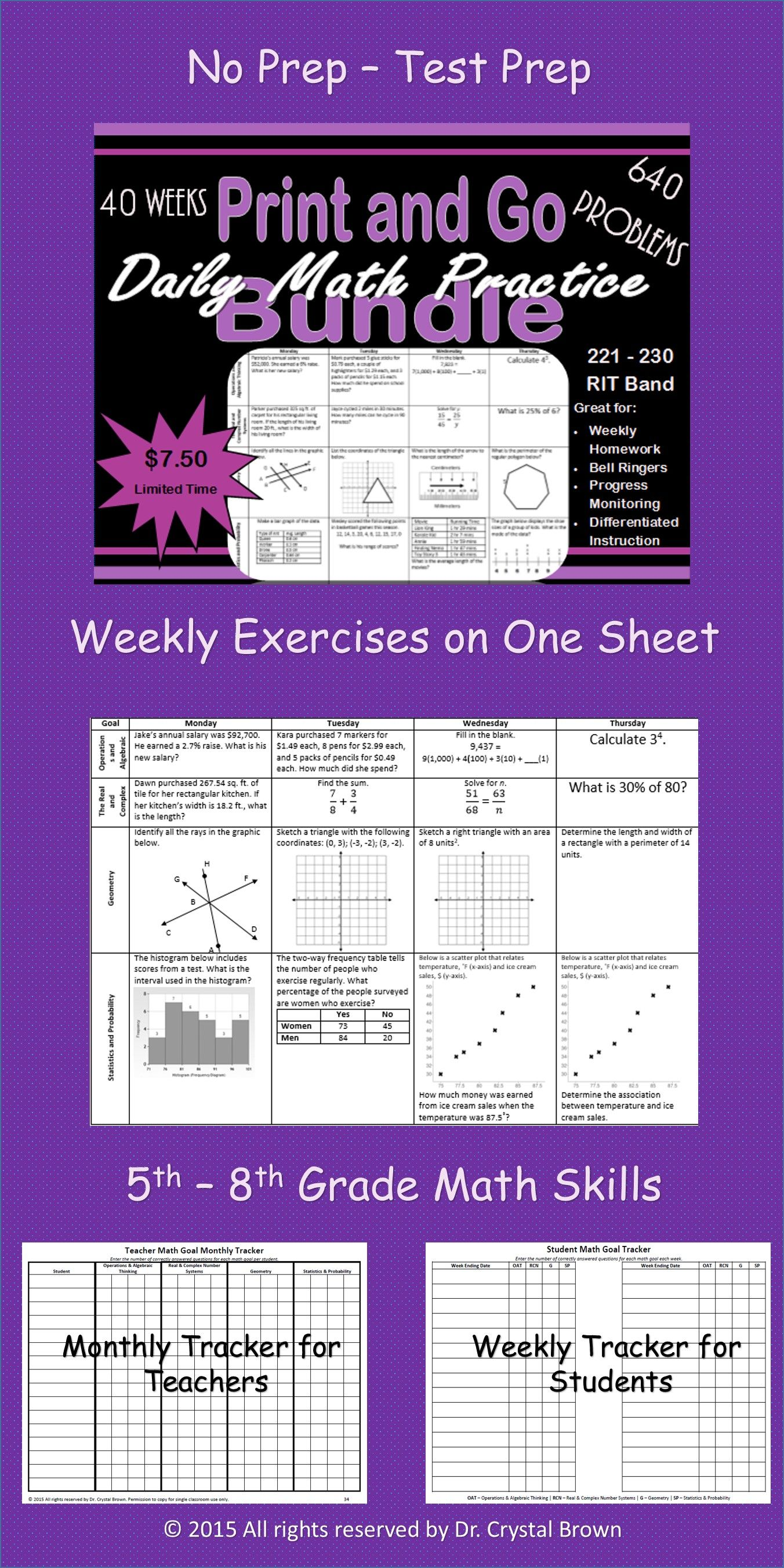 Daily math practice bundle for rit band 221 230 middle school daily math fandeluxe Gallery