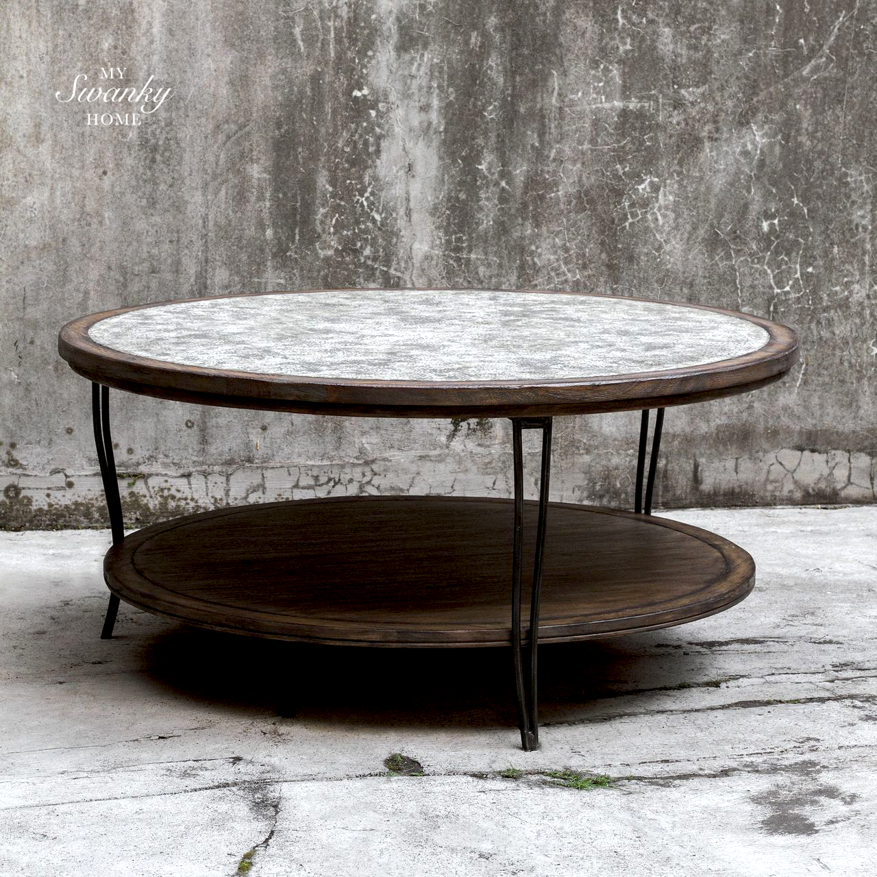 Rustic Industrial Wood Metal Coffee Table Round Shelf Gray Cottage Rustic Coffee Tables Round Metal Coffee Table Coffee Table [ 1280 x 1280 Pixel ]