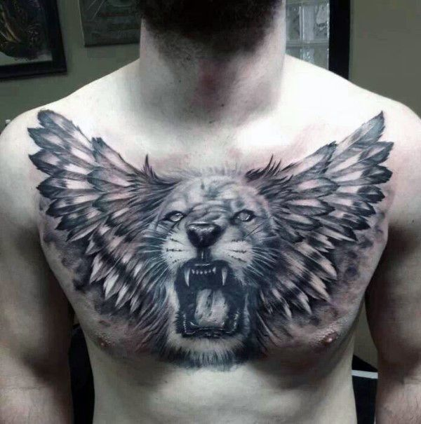 Roaring Lion Chest Tattoo With Wings For Males | tattoo ...